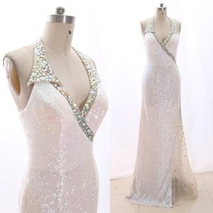 Sheath V Neck Sequin White Prom Dress Pageant Gown